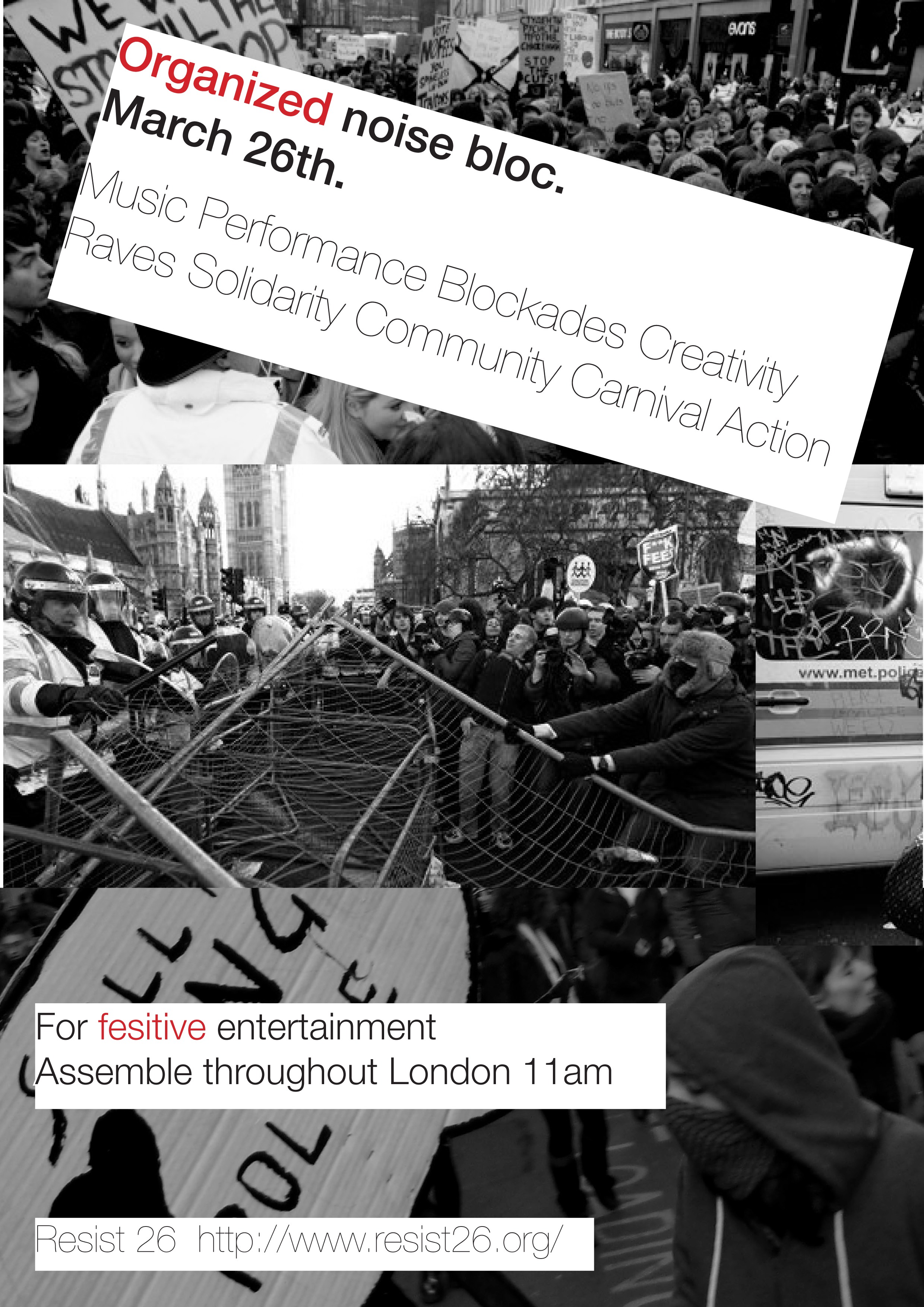 London, UK] Organised noise bloc(s), 26th march, London 11am